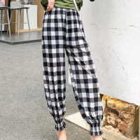 Geometric Prints Narrow Lantern Bottom Casual Trousers - Black and White