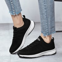 Plain Mesh Round Toe Lace Up Casual Wear Sneakers - Black