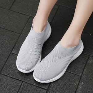 Mesh Creative Ripped Design Round Toe Comfy Wear Sneakers - Gray
