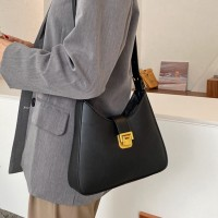 Press Lock Synthetic Leather Women Fashion Handbags - Black