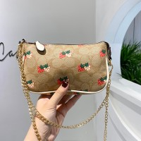 Strawberry Printed Zipper Closure Chain Strap Messenger Bags - Khaki