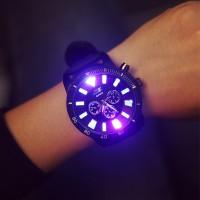 Light Up Dial Strapped Fance Sports Wear Wrist Watch - Black