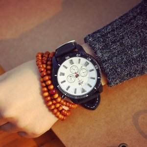 Light Up Dial Strap Dance Sports Wear Wrist Watch - White Black