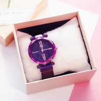 Carved Crystal Shaped Roman Dial Party Wear Wrist Watch - Purple