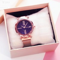Carved Crystal Shaped Roman Dial Party Wear Wrist Watch - Golden