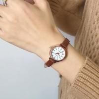 Leather Strapped Roman Dial Women Fashion Wrist Watch