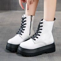 Creative Design Synthetic Leather Thick Bottom Casual Wear Boots - White