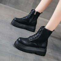 Creative Design Synthetic Leather Thick Bottom Casual Wear Boots - Black