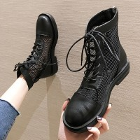 Hollow Design Breathable Round Toe Lace Up Boots - Black