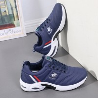 Colorful Striped Soft Bottom Sports Running Sneakers - Blue