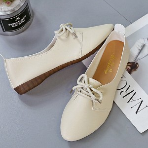 Plain Lace Up Pointed Toe Soft Sole Casual Wear Flat Shoes - Apricot