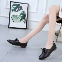 Plain Lace Up Pointed Toe Soft Sole Casual Wear Flat Shoes - Black