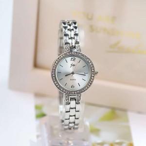 Crystal Patched Decorative Women Fashion Wrist Watch - Shiny Silver