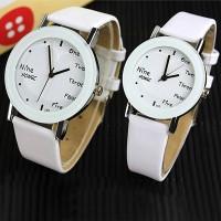 Alphabetic Dial PU Leather Strap Couple Wrist Watch Set - White