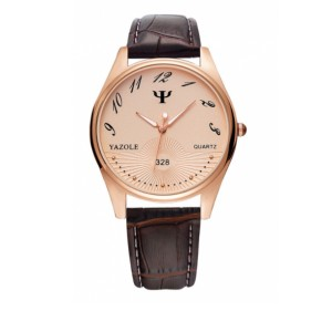 Fancy Golden Dial Vintage Design Leather Strapped Wrist Watch - Brown Gold