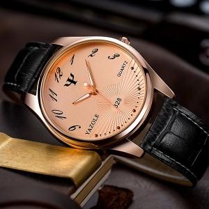 Fancy Golden Dial Vintage Design Leather Strapped Wrist Watch - Black