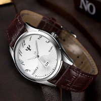 Fancy Silver Dial Vintage Design Leather Strapped Wrist Watch - Brown