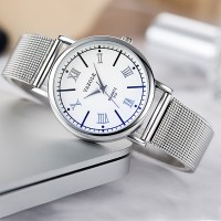 Stainless Steel Roman Dial Analogue Style Wrist Watch - Silver