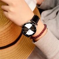 Leather Strappy Women Fashion Geometric Dial Wrist Watch - Black