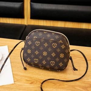 Printed Zipper Closure Women Fashion Messenger Bags - Brown
