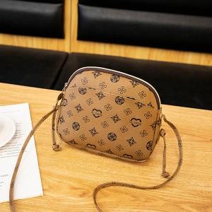 Printed Zipper Closure Women Fashion Messenger Bags - Light Brown