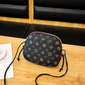 Printed Zipper Closure Women Fashion Messenger Bags - Black