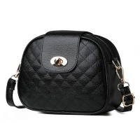 Twist Lock Patchwork Closure Sober Messenger Bags - Black