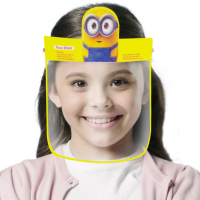 Cartoon Prints Anti Splash Germ Resistant Kids Face Shield - Yellow