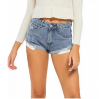 Button Closure Zipper Sexy Wear Mini Shorts - Blue