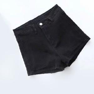 Solid Color Button Closure Zipper Sexy Wear Mini Shorts - Black