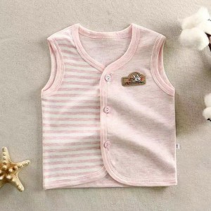 Sleeveless Button Up Striped Baby Infant Top - Pink