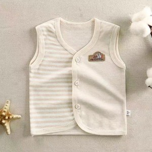 Sleeveless Button Up Striped Baby Infant Top - Apricot
