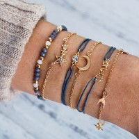Women Star And Moon Multi Layer Bracelet 6 Pieces Set - Golden