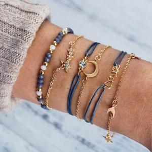 Women Star And Moon Multi Layer Bracelet 6 Pieces Set - Golden
