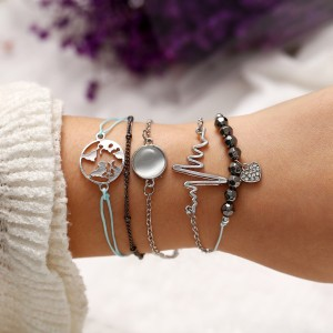 Black Bead Chain Round Inlaid Crystal Stone Bracelet 5 Piece Set - Multi Color