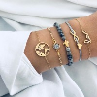 Ladies Map And Heart Bangle Bracelet Set 5 Pieces - Golden