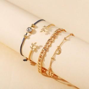 Ladies Simple Chain Bracelet Set 4 Pieces - Golden