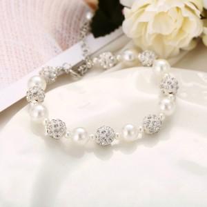 Ladies Elegant Pearl With Rhinestone Bracelet - White Silver