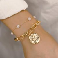 Girls Simple Pearl Portrait Pendant Double Bracelet - Golden