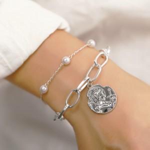 Girls Simple Pearl Portrait Pendant Double Bracelet - Silver