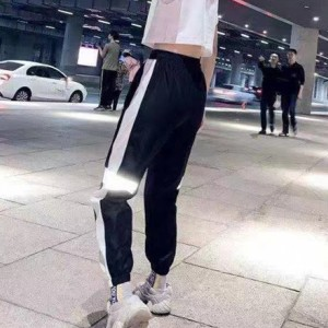 Contrast Holographic Narrow Bottom Pants Trouser - Black