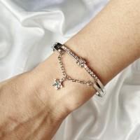 Girls Fashion Rhinestone And Star Chain Bracelet - Silver