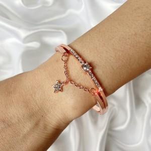 Girls Fashion Rhinestone And Star Chain Bracelet - Rose Gold