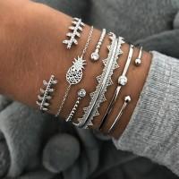 Ladies Fashion Wild Bracelet Set 6 Pieces - Silver
