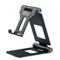 Easy Flap Adjustable Stainless Steel Mobile Phone Stand - Black