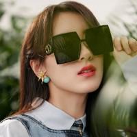 Ladies Fashion Trend Personality Retro Big Frame Sunglasses - Black