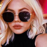 Girls Fashion Gold Frame Trendy Sunglasses - Black