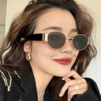 Girls Fashion Retro Gold Frame Sunglasses - Black