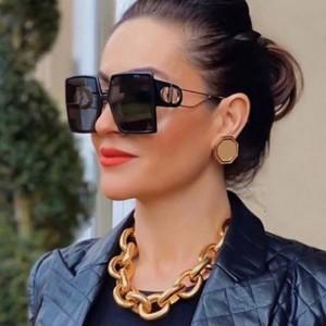 Ladies Retro Gold Square Frame Sunglasses - Black