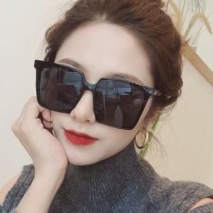 Oversized Retro Square Flat Sunshade Sunglasses - Black